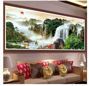 Cross Stitch Kit, Sunset Mountains Waterfall 125x60cm. DIY Needlework Handmade Embroidery Home Room Decor