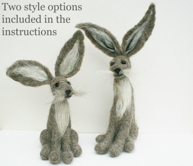 Grey Hare Needle Felting Kit By Lincolnshire Fenn Crafts