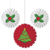 Creative Party Christmas Trees & Holly Hanging Paper Fan Decorations x 3
