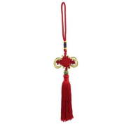 Tassel Detail Chinese Knot Handmade Red Hanging Decor for Car Truck