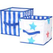 Little Bedding by Nojo Boy Stars Print Collapsible Storage Bin, 2pk