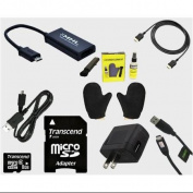 Micro USB to HDMI MHL Adapter Bundle With Transcend 8GB MicroSDHC Memory Card, HDMI, Micro USB, TV Cleaning Kit and Char