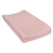 Trend Lab Coral and Grey Chevron Deluxe Flannel Changing Pad Cover