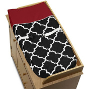 Sweet Jojo Designs Red and Black Trellis Collection Changing Pad Cover