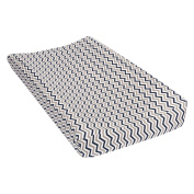 Trend Lab Navy and Grey Chevron Deluxe Flannel Changing Pad Cover
