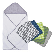 Trend Lab 6pc Perfectly Navy Grey Dot Hooded Towel and Wash Cloth Bouquet Set