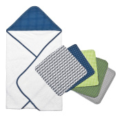 Trend Lab 6pc Perfectly Navy Dot Hooded Towel and Wash Cloth Bouquet Set