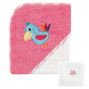 Luvable Friends Tropical Hooded Towel & Washcloth, Pink Bird