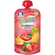 Gerber Graduates Grabbers Squeezable Fruit Apple Strawberry Banana Pouch - 130ml