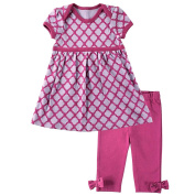 Hudson Baby Girls 2 Piece Pink Print Empire Waist Dress and Pink Leggings with Bow Detail Set