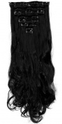 """S-noilite17"""" Long Curly Wavy Jet Black Clip in on 8 Pieces Full Head Set Hair Extensions 8pcs Hairpiece Extension for Girl Lady Women"""