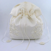 Satin Bridal Wedding Small Money Bag with Pearl-Embellished Floral Lace for Dollar Dance, Bridal Purse, and Other Special Occasions #E1DEDBiv