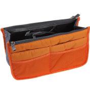 LEFV™ Handbag Organiser Liner Insert 13 Compartments Nylon Comestic Gadget Purse Multi-function Travel Makeup Pouch Organiser Tidy Pocket Double Zipper Case Toiletry Bag Orange