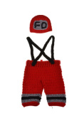NEW crochet baby hats knit bow nappies newborn photography props firefighter clothing style