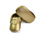 (Gold Colour) Baby Tassels Soft Sole Leather Infant Toddler Prewalker Shoes ,100% Genuine Cow Leather -