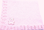 Knitted Crochet Finished Med Pink Chenille Large Blanket with Large White Bear