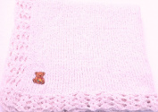 Knitted Crochet Finished Medium Pink Chenille Large Blanket Cute Bear Patch