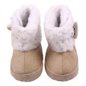 Malloom Baby Girls Coral Velvet Soft Crib Warm Button Flats Boot Anti-skid