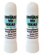Pack of 2 Inhale to Heal Motion Sickness Vertigo Anti-nausea Formula Aromatherapy Nasal Inhalers