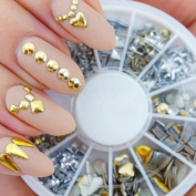 Nail Art Decorations Wheel With Gold And Silver Metal Studs In 12 Different Shapes