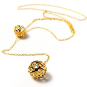 Alloy Golden Hollow Double Balls Pendant Sweater Chain Necklace by 24/7 store