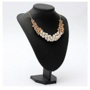 White Luxury Gold Plated Pearl Beads Bib Choker Statement Collar Necklace by 24/7 store