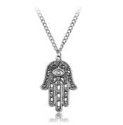 Hamsa Fatima Hand Evil Eye Pendant Chain Necklace Silver Tone by 24/7 store