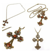 #5 Vintage Bronze Peacock Heart Cross Drop Pendant Sweater Necklace by 24/7 store