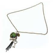 Bronze Vintage Peacock Feather Heart Leaf Key Tassel Sweater Necklace by 24/7 store