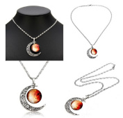 #2 Silver Plated Time Gem Moon Galactic Universe Pendant Necklace by 24/7 store