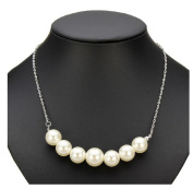 Silver Plated White Pearls Pendant Short Chain Necklace Women Jewellery by 24/7 store