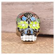 Vintage Colourful Peking Opera Mask Skull Enamel Flower Finger Ring by 24/7 store