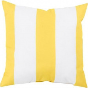46cm Sunflower Yellow and Ivory Beach Striped Decorative Throw Pillow