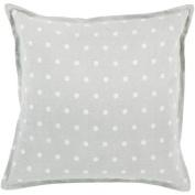 50cm Slate Grey and White Polka Dot Daze Decorative Square Throw Pillow