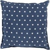 50cm Navy Blue and White Polka Dot Daze Decorative Square Throw Pillow - Down Filler