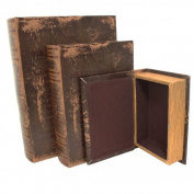 EC World Imports 3 Piece Leather and Wood Book Safe Set