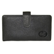 Buxton Black Leather Heiress Tab Chequebook Keeper Cover and Credit Card Holder