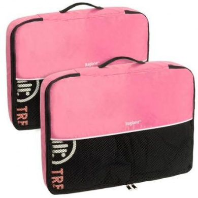 Baglane Pink TechLife Nylon Luggage Travel Packing Cube Bags -2pc Set (Large)