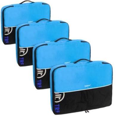 Baglane Aquamarine TechLife Nylon Luggage Packing Cube Bags -4pc Set (Large)