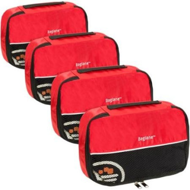 Baglane Red TechLife Nylon Luggage Travel Packing Cube Bags -4pc Set (Small)