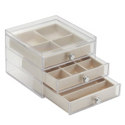 InterDesign 3-Drawer Slim Jewellery Box, Clear/Ivory