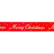 "Red and Gold Glitter ""Merry Christmas"" Wired Craft Ribbon 6.4cm X 60 Yards"