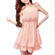 Allegra K Women's Polka Dots Layered Dress Pink