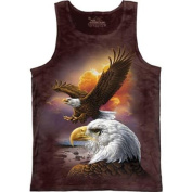 The Mountain Women's Red Cotton Eagle & Clouds Design Novelty Tank Top Shirt