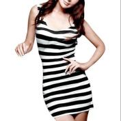 Allegra K Women's Sexy Backless U Neck Bar Stripe Sleeveless Mini Dress Black White