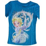 Disney Little Girls Royal Blue Frozen Elsa Character Print T-Shirt 6-6X