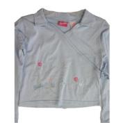 Barbie Little Girls Sky Blue Floral Embroidered Long Sleeved Shirt 4