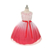 Kids Dream Little Girls Red Ombre Rosette Special Occasion Dress 6
