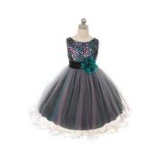 Kids Dream Little Girls Teal Multi Sequin Tulle Christmas Dress 6