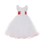 Shanil Inc. Big Girl's Sash Tulle Rosette Bodice Flower Girl Dress